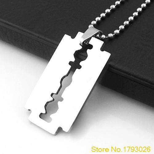 Creative Men's Stainless Steel Razor Pendant Silver Color Ball Blade Chain Necklace 4T95