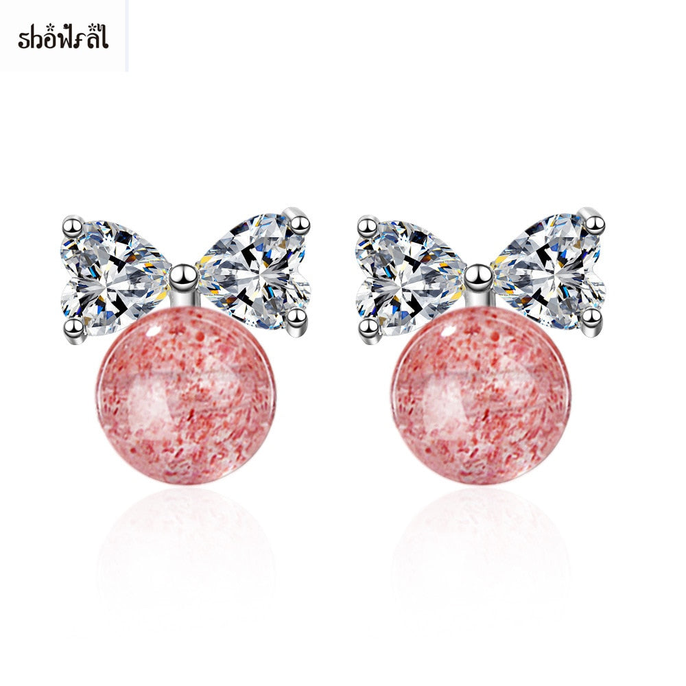 Cubic Zirconia Earrings Studs Stone Charms Bowknot Earrings 2018 Pink Earrings for Women Girls Birthd Gifts Fashion Jewelry