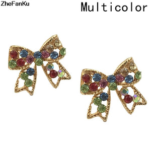 Cute Fashion Colorful Rinestone Bowknot Stud Earrings Studs Bow Earring