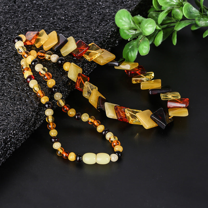 Dance engagement accessories natural pure amber wax fashion necklace jewelry Baltic Haiyuan mine