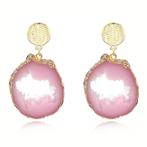 Europe Boho Resin Earrings Women Jewelry Handmade Irrgular Big Huge Earrings Pink Hollow Gold Long Dangle Earrings E323