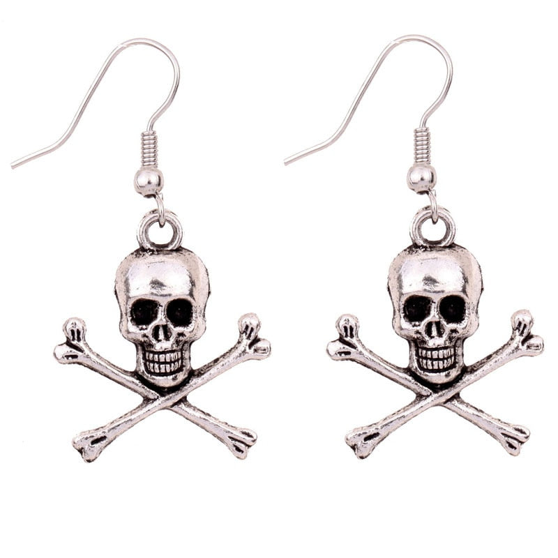 Alloy Drop Earrings Antique Silver Skull Pendants Fashion Jewelry Punk Earrings For Women Gift,1 Pair