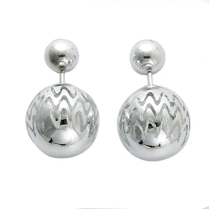 CCB Plastic Double Sided Ear Post Stud Earrings Christmas Ball Silver Ripple 8mm Dia. 16x15mm,1 Pair