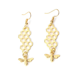 3D Drop Earrings Gold Color Honeycomb Bee Animal Pendants Fashion Women Jewelry 64mm(2 4/8) x 16mm( 5/8), 1 Pair