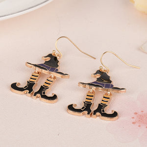 Halloween Chic Earring Witch Hat Sock Boots Pendants Drop Earrings Black Gold Color Fashion Women Jewelry 1 Pair