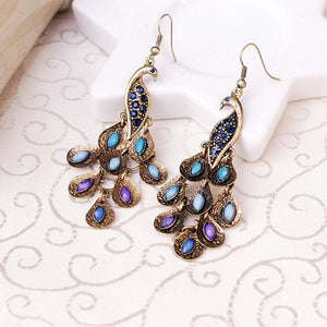 Drop earrings For women Fashion Vintage Crystal Earring Peacock Eardrop Christmas Accessories Creative Gift
