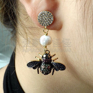 E050114 White Pearl Mixed Color Insect CZ Earrings
