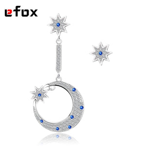 Fashion Moon Earrings Jewelry Austria Crystal Wedding Long Stud Earring For Women