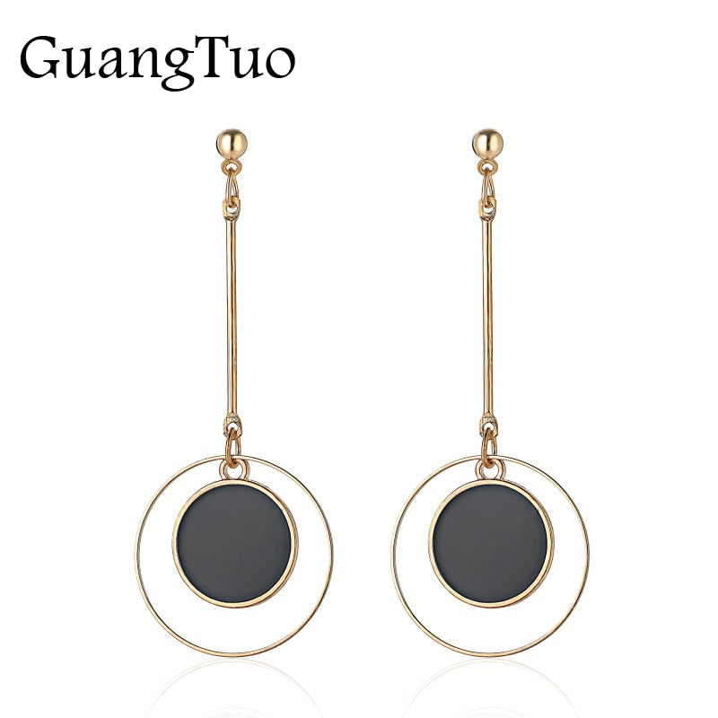 EK2067 New Brand Fashion Vintage Long Wire Drip Black Circle Round Coin Drop Earring For Women Wedding Jewelry Female Brincos