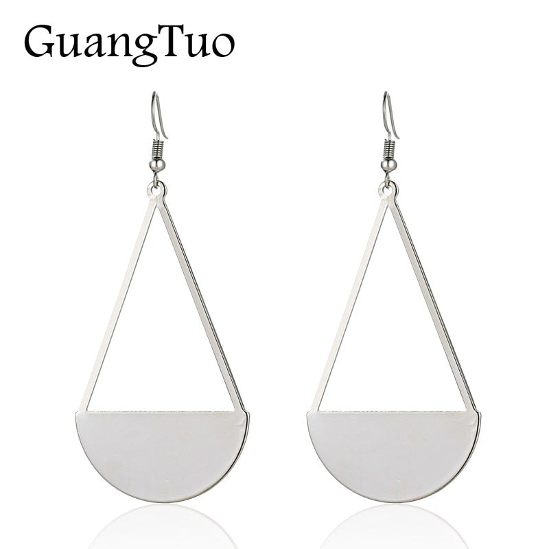 EK2108 European Exaggerated Hiphop Circle Triangle Connect Long Drop Earring for Women Party Jewelry Punk Fan Shaped Pendientes