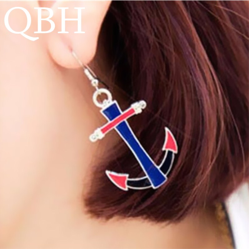EK350 European American Fashion Vintage Anchor Drip Drop Earrings For Women Girl Jewelry Libra Navy Blue Red Color Pendientes
