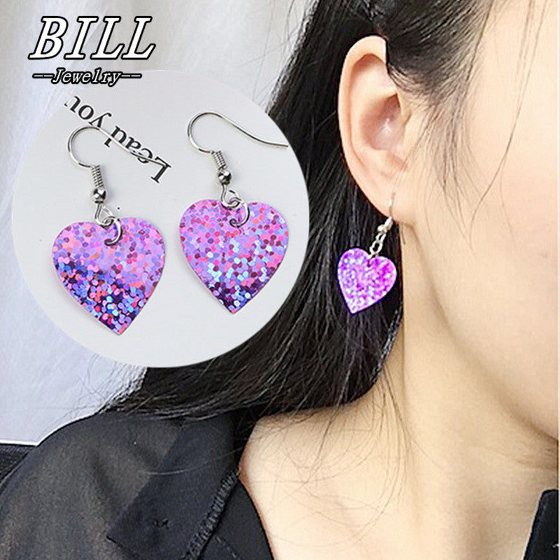 ES447 Shiny Heart Drop Earrings For Women Geometric Dangle Sweet Brincos Fashion Jewelry Bijoux Earring pendientes mujer 2018