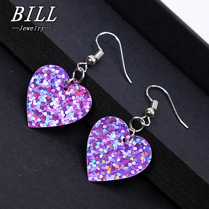 ES447 Women Drop Dangle Earrings Fashion Jewelry Shinny Heart Brincos pendientes mujer oorbellen LOVE 2018 HOT Selling