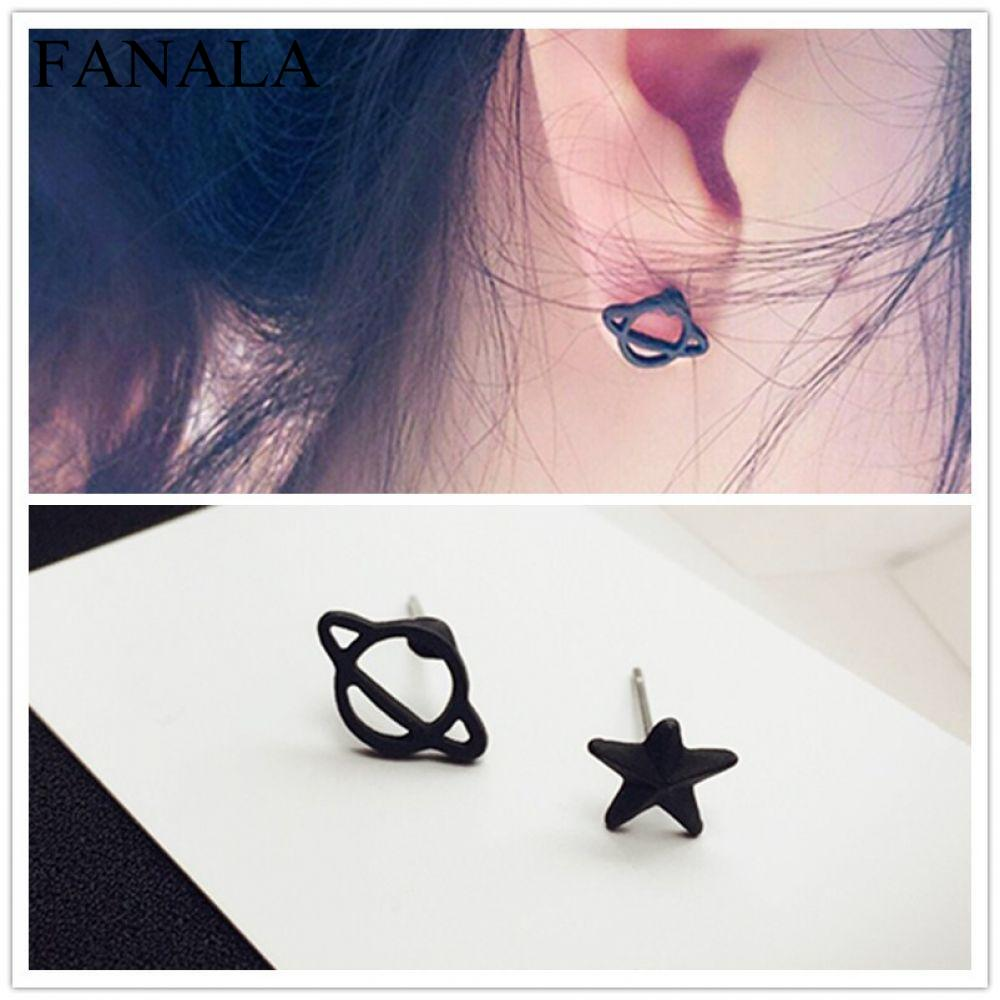 Earing Black Brincos Women Wedding Jewelry Small Star Simple Stud Asymmetric Earrings For Mini Planet EK980