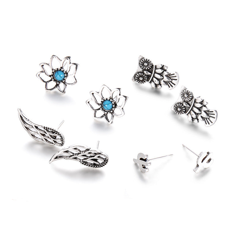 Earrings Set Owl Wings Lotus Cactus Stud Earring Women Antique Silver Color Blue Beads Stone Flower Hollow Out Jewelry 4 Pairs