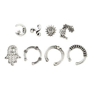 Earrings Sets Sun Moon Star Hollow Hand Flower Charm Women Ancient Silver Color Round Circles Ear Stud Cuff Clip Jewelry 8 Pcs