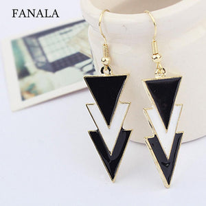 Elegant Charm Layers Pendant Women Three Of Black Earrings Triangle