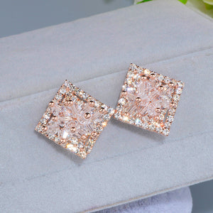 Elegant Hollow Shiny Full Crystal Square Stud Earrings for Women Bijoux Charm Rose Gold Color Flower Earrings Brinco Gift WX089