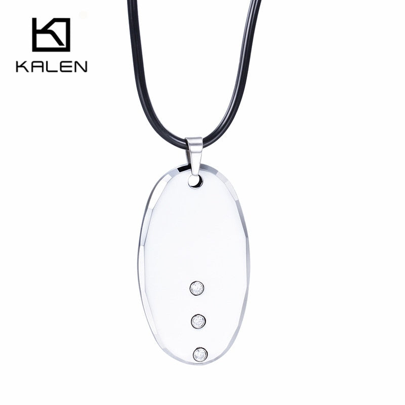Elegant Tungsten Steel Pendant Necklace High Quality Oval Shaped Pendant For Men And Women Trendy Hop Pendant Necklace