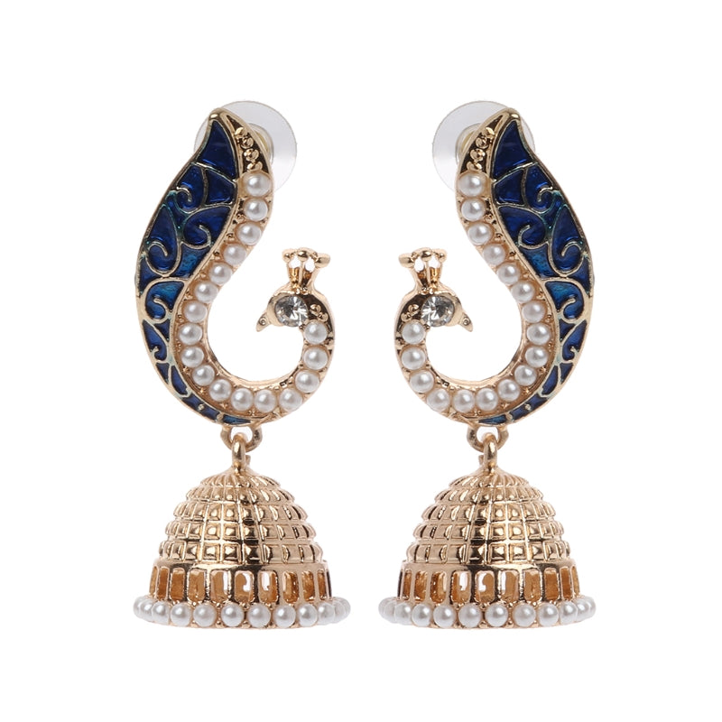 Ethnic Indian Gold Pearl Blue Peacock Drop Earrings For Women Jhumka Jhumki Drop Earrings Gypsy Jewelry Exquisite Earrings