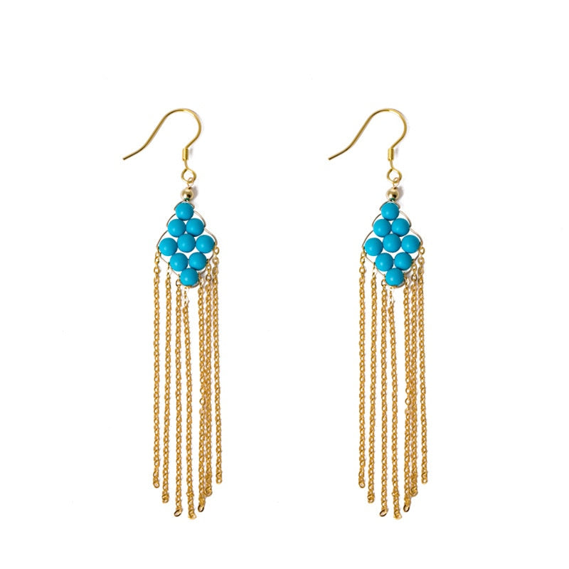 Ethnic Tassels Gem Stone Drop Earrings Real 925 Sterling Silver Earrings For Women Original Handmade Earrings Fine Jewelry