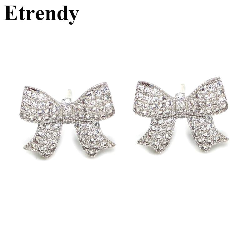 Rhinestone Bow Shaped Stud Earrings For Women Bijoux New Fashion Jewelry Wholesale Cute Gift