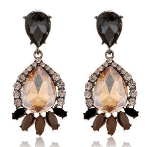 European New Arrival Crystal Jewelry Sweet Big Earrings Shining Rhinestone Wild Earrings For Women Water Drop Earrings