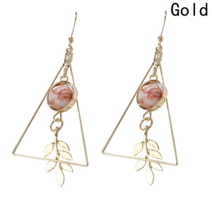 European and American Leaf Earrings Fashion Vintage Hollow Out Geometry Marble Round Beads Drop S Girls Jewelry For Woman