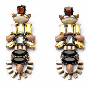 Exotic Style Customized Irregular Gypsy Girl Woman Dangle Earrings Insect Shaped Rhinestone Beads Drop Earrings EH124