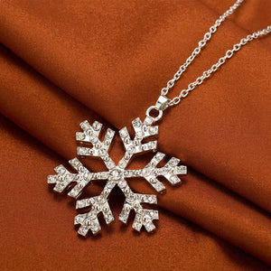 New Year Christmas Gift Fashion Luxury Shiny rhinestone Snowflake Necklace Pendants Chain long necklace jewelry women