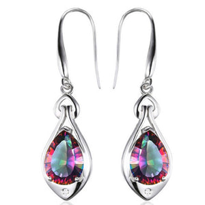 Water Drop 6.8ct Genuine Rainbow Fire Mystic Dangle Earrings Pure 925 Sterling Silver Fine Jewelry