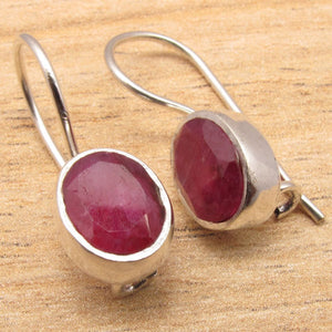 FINE QUALITY HANDMADEVJEWELRY DECO EARRINGS , RO rubi Gems, Silver Plated