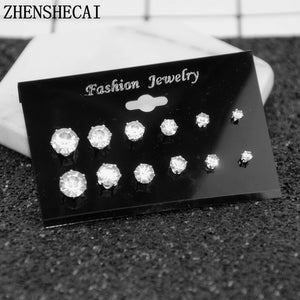 Fashion 6 Pair/set Punk Accessories Crystal Stud Earrings Set For Women Round Fashion Design Brincos Jewelry Bijoux e022