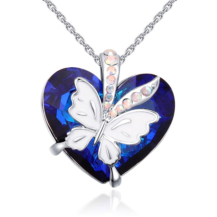 Fashion Blue Heart Pendant Necklace Crystals From Swarovski Butterfly Necklaces & Pendants For For Valentine'S D Gift Of Love