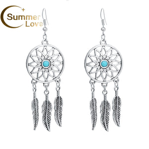 Fashion Hollow Dream Catcher Earrings For Women Silver-Plated Feather Dangle Long Earrings Pendientes Hanging Earrings Brincos