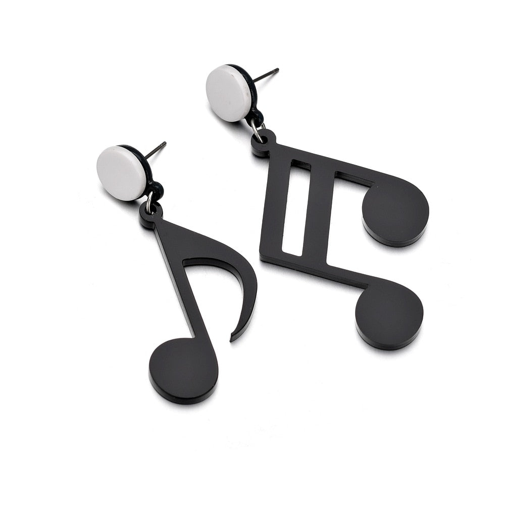 Fashion Night Club Party Big Acrylic Black White Punk Style Drop Earrings Music Note Earring Musical Jewelry For Women Hop