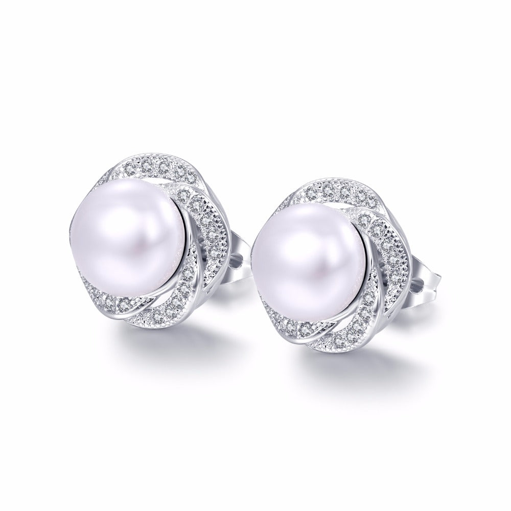 Fashion Rose Design Simulated Pearl Earrings For Women Inlaid Dazzling Zirconia Jewelry Gift For Bridesmaid Girlfriend HD683