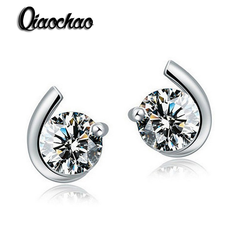 Fashion Women CZ Crystal Stud EarringsPlatinum Plated earrings fashion jewelry for Party Gift Round earing women E346