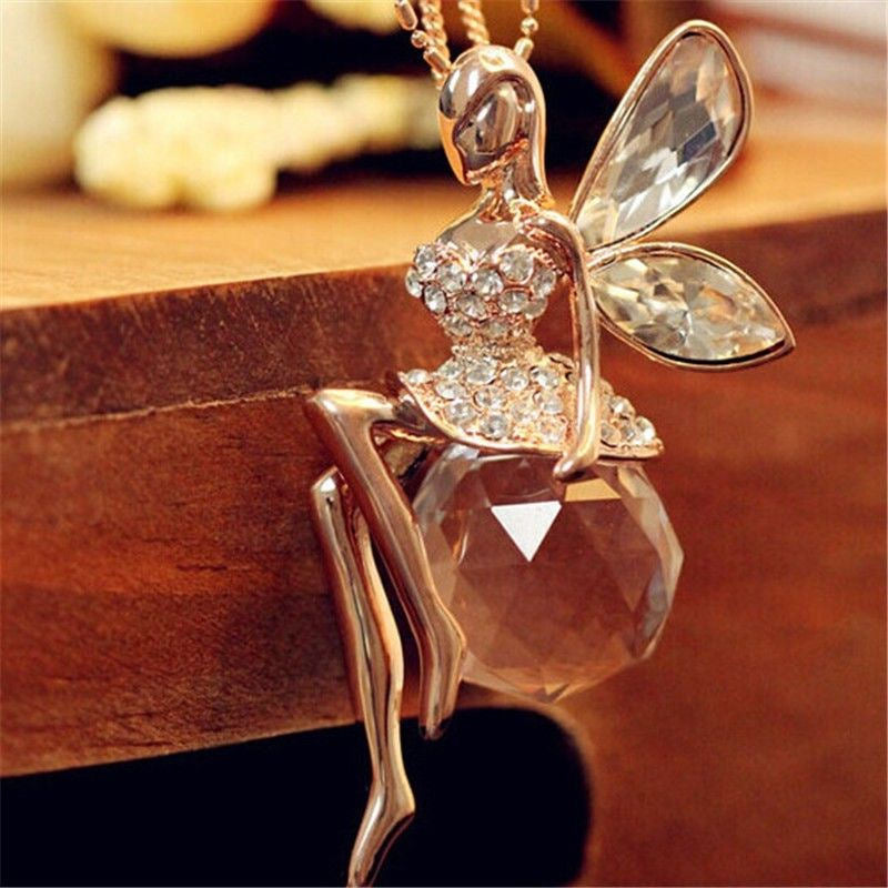 Fashion Women Jewelry Crystal Angel Wings Gold Color Long Chain Necklace Ahiny Butterfly Fairy Necklace for Girls Birthd Gift