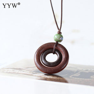 Fashion Wood Pendant Necklace Boho Jewelry Gift for Women Vintage Long Maxi Collier Porcelain Beads Charm Adjustable Cord Chain
