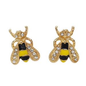 Fashion sweet Cute Rhinestone Insect Small Bee Crystal Stud Earrings for Women Girls Piercing Jewelry