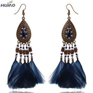 Fast Deliver Dress on Party Dark Blue Feather Pendant Handmade Gift Jewelry For Women