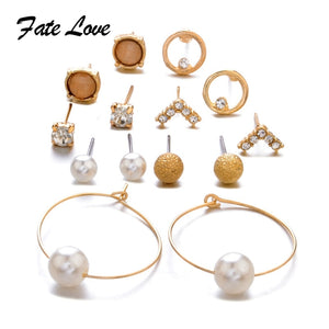 7 Pairs/lot Stud Earrings Set For Women Elegant Rhinestone Simulated Pearl Earrings Big Gold Round Circle Earring