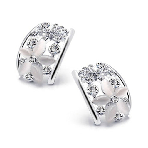 Five Leaves Flowers Cubic Zirconia Opal Earings Brinco Women Fashion Ethnic Jewelry Brand Crystal Earring Christmas Wholesale