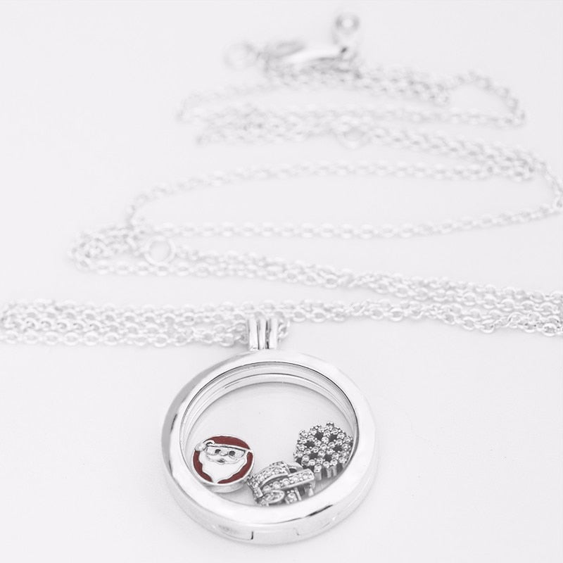 Floating Pendant Christmas Gift Europe Clear CZ Necklace Women 925 Sterling Silve For Women Fashion Jewelry Floating Locket