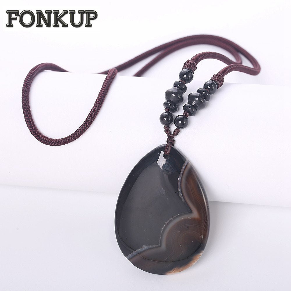 Forkup Classic Women Pendant Necklaces Black Agate Natural Stone Jewellery Elegant Femme Wedding Accessories Round Rope Chain