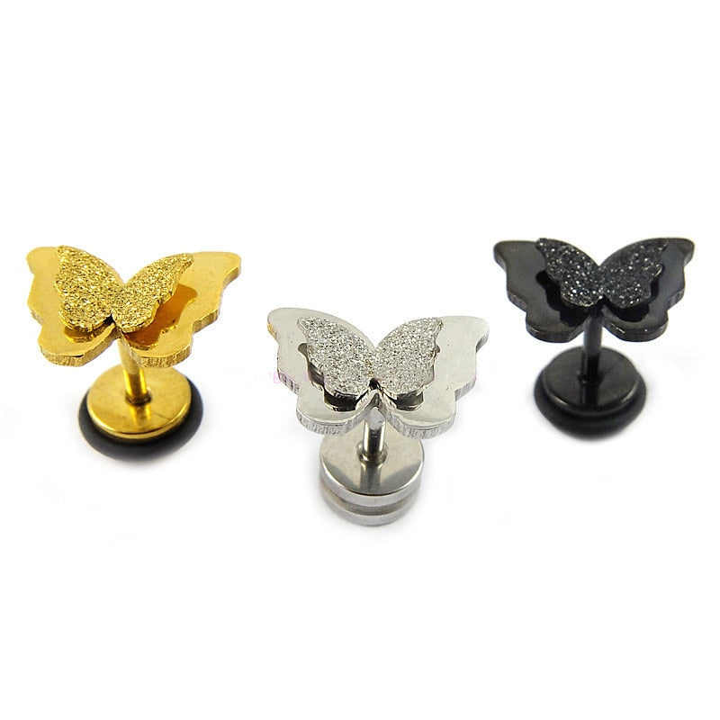 Frosted Double Butterfly Ear Studs Stainless Steel Earrings For Women Gold-color Best Jewelry For Women Girl Cute Baby DH36