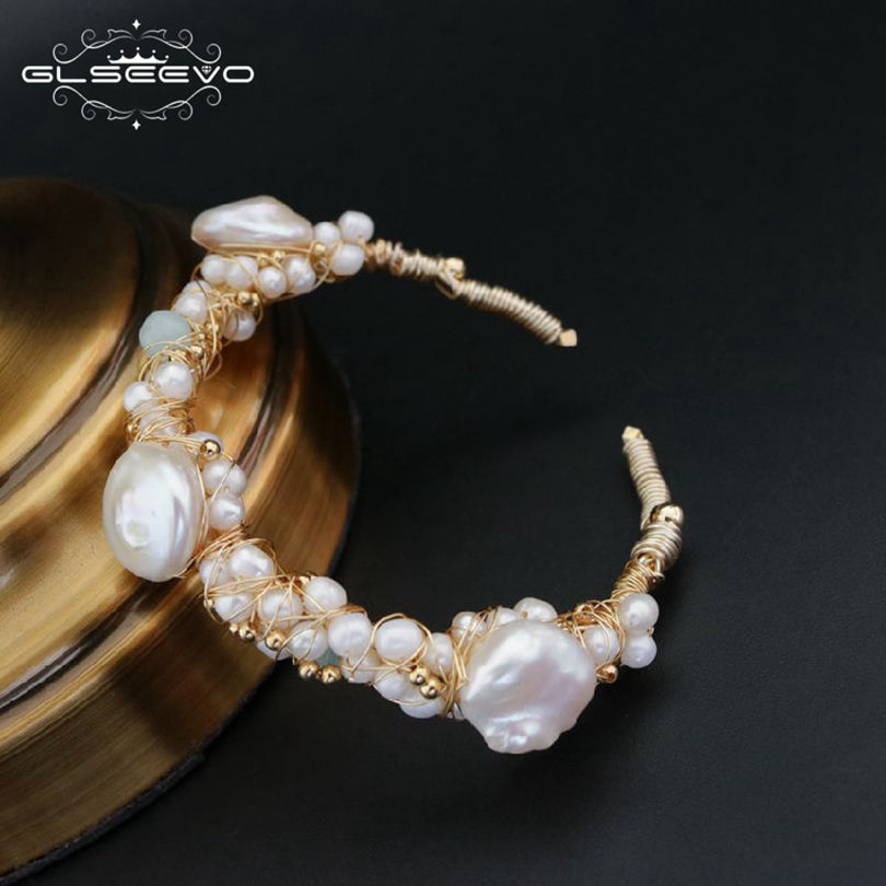 Natural Stone Fresh Water Baroque White Pearl Bracelets Gift For Women Adjustable Bracelets & Bangle Jewelry GB0060