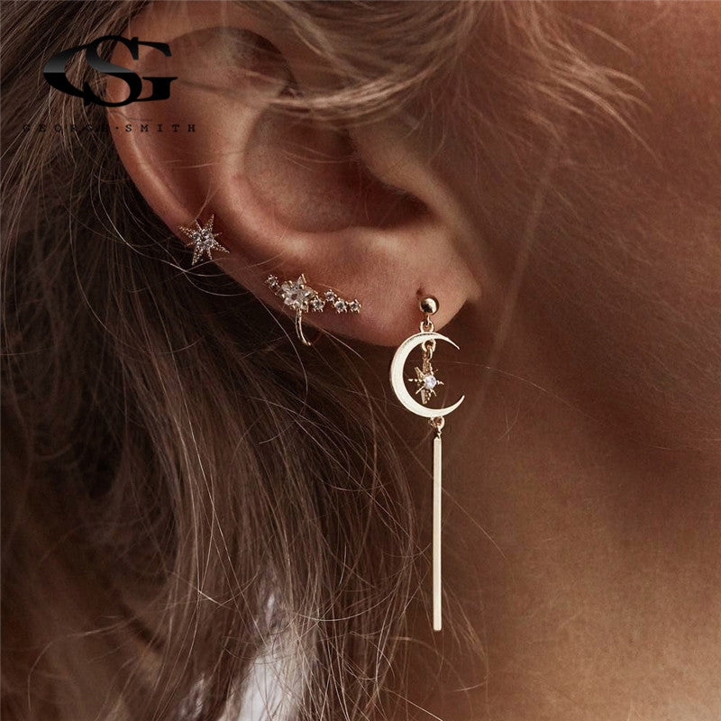 GS Earrings Fashion Woman 2018 Korean Lovely Moon Star Drop Earrings For Women Minimalist Earrings Girls Jewelry Accessories R5A