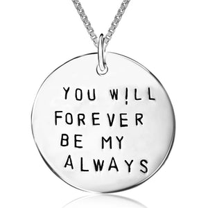Genuine Fashion 925 Sterling Silver Jewelry Round Card Letter Pendant Necklace Women Girls Lovers'Party Gift Collier CHX0422